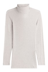 Closed Turtleneck Pullover With Cashmere Beige