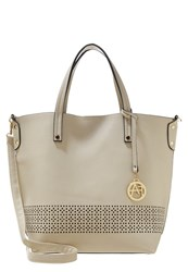 Anna Field Tote Bag Creme Black Beige