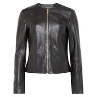 Ted Baker Alam Collarless Leather Jacket Black