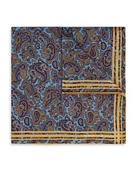 Turnbull And Asser Paisley Print Pocket Square Blue