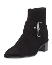 Stuart Weitzman Buckler Suede Buckle Booties Black