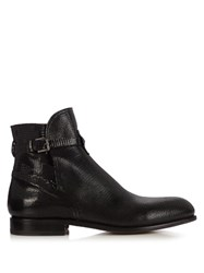 Armando Cabral Lizard Effect Leather Ankle Boots Black