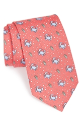 Vineyard Vines Crab Print Tie Raspberry
