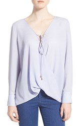 Women's Wayf Wrap Front Long Sleeve Blouse Blue