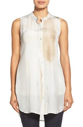 Petite Women's Eileen Fisher Sleeveless Silk Shirt Marble