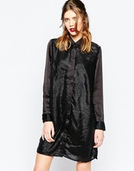 Religion Drip Shirt Dress With Sequins Black