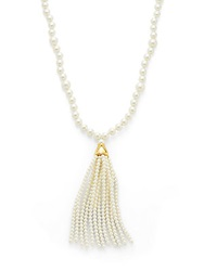 Kenneth Jay Lane Faux Pearl Tassel Necklace White Pearl
