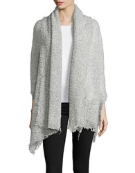 Collection 18 Fringed Marled Wool Blend Wrap White