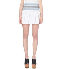 See By Chloe Pleated Cotton Mini Skirt White