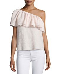 Rebecca Taylor One Shoulder Ruffle Top Light Quartz