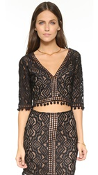 For Love And Lemons Florence Crop Top Black