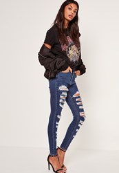 Missguided Blue Multi Authentic Rip Skinny Vintage Jeans