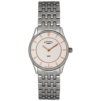Rotary Lb08200 02 Women's Ultra Slim Stainless Steel Bracelet Watch Silver White