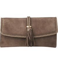 Lk Bennett Tracy Leather Clutch Tau Taupe