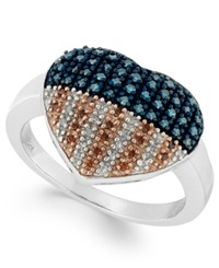 Macy's Stelring Silver Ring Diamond And Diamond Accent Flag Heart Ring 1 3 Ct. T.W.