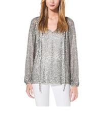 Michael Kors Metallic Velour Fil Coupe Tunic Silver