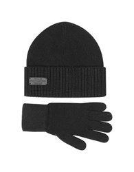 Dsquared Black Wool And Cashmere Set Of Gloves And Hat