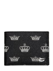Dolce And Gabbana Crown Printed Leather Classic Wallet