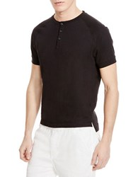 Kenneth Cole Cotton Henley Tee Black