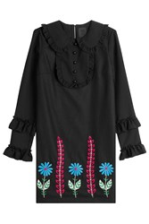 Anna Sui Embroidered Dress With Wool Black