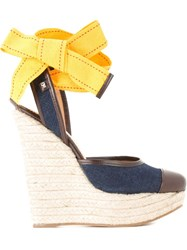 Dsquared2 Denim Wedge Espadrilles Blue