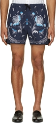 Alexander Mcqueen Navy Floral And Paisley Shorts