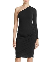 Velvet By Graham And Spencer One Shoulder Ruched Jersey Dress Black