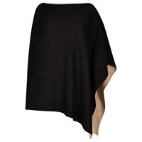Winser London Merino Wool Reversible Poncho Camel Black