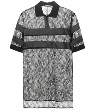 Givenchy Embellished Lace Polo Shirt Black