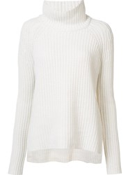 Novis Cable Knit Roll Neck Jumper White