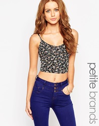 New Look Petite Ditsy Floral Print Ribbed Cami Blackpattern