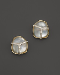 Kara Ross 18K Yellow Gold And Diamond Pangea Cluster Earrings With Rock Crystal And Mother Of Pearl Doublet White