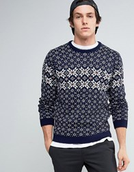 Asos Jumper With Snowflakes Navy
