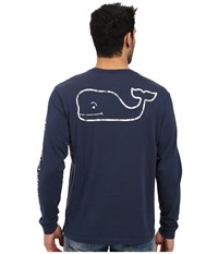 Vineyard Vines Long Sleeve Vintage Whale Pocket Tee Blue Blazer Men's T Shirt