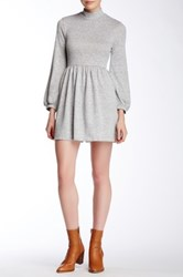 Everleigh Mock Neck Solid Skater Dress Gray