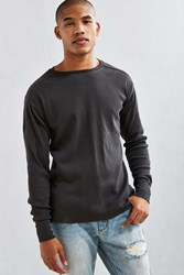 Urban Outfitters Uo Essential Ribbed Thermal Long Sleeve Tee Black