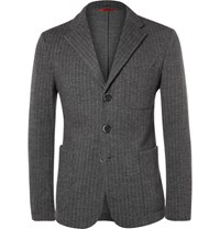 Barena Chalk Stripe Wool And Cotton Blend Jacket Gray