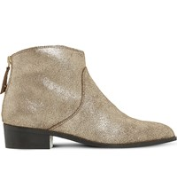 Dune Pearcey Leather Ankle Boots Bronze Metallic