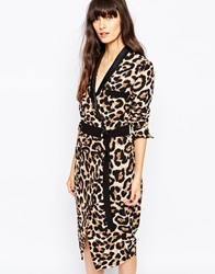 Paisie Leopard Print Wrap Dress With Belt Multi