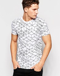 Only And Sons T Shirt With All Over Geo Print White