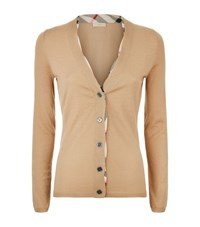 Burberry Check Placket Wool Cardigan Female Camel