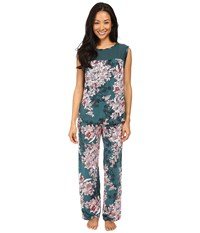 Midnight By Carole Hochman Chiffon Checkerboard Pajama Bouquet Women's Pajama Sets Brown