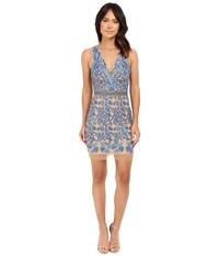 Nicole Miller Embroidered Tulle Illusion Party Dress Perry's Blue Women's Dress