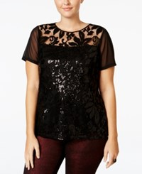 Inc International Concepts Plus Size Sequin Lace Top Only At Macy's Deep Black