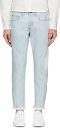Off White Blue Frayed And Cropped Jeans