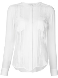 Veronica Beard Embroidered Lace Panel Shirt White