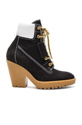 Maison Martin Margiela Lace Up Suede Booties In Black
