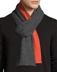 Portolano Wool Blend Colorblock Scarf Charcoal Orange