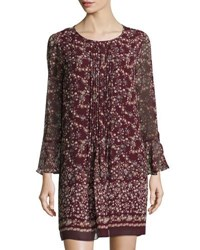 Max Studio Pleated Front Bell Sleeve Floral Print Dress Wine