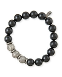 10Mm Onyx And Pave Diamond Bracelet Sheryl Lowe Black